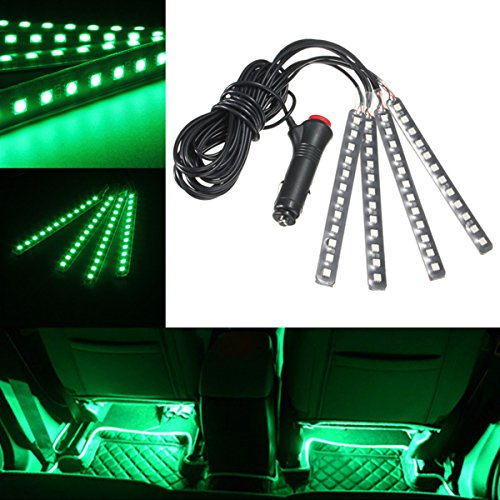 AUDEW 4-Piece Car Interior Light Strips 12LED Waterproof Neon Decoration Lamp LED + Car Charger Green (Car Charger Green Led Lights compare prices)