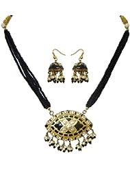 DollsofIndia Black Bead Adjustable Necklace With Meenakari Pendant & Earrings - Red