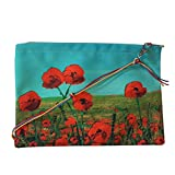 Leaf Designs Red & Blue Floral Sling Bag