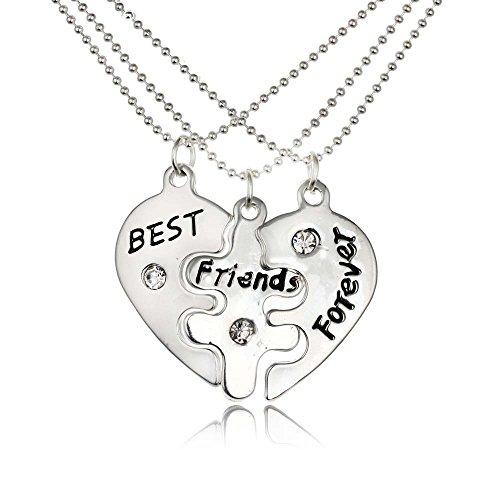rosimall tre in uno stile unico realizzato a mano cuore incisione ciondolo collana da donna Fashion Jewelry Best Friend Forever