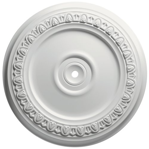 Focal Point 83312 12-Inch Egg and Dart Medallion 12 1/2-Inch by 12 1/2-Inch by 1 1/8-Inch, Primed White
