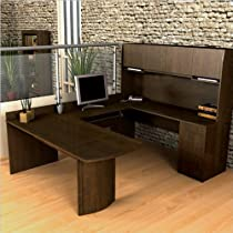 Big Sale Bestar Executive U-Shape Computer Computer Desk-Chocolate