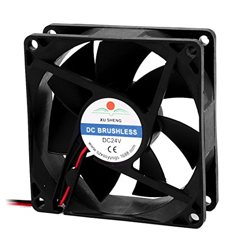 uxcell DC 24V 80mmx80mmx25mm 7 Vanes PC CPU Computer Cooling Fan w Metal Finger Guard (80 Mm Cooling Fans compare prices)
