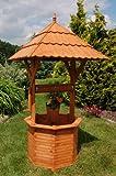 Zierbrunnen, Holzbrunnen, Gartenbrunnen, Brunnen 2,15 m, Dach 1,10x1,10m, imprägniert