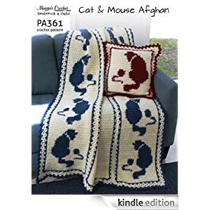 Free Crochet Cat Pillow Pattern : Crochet Pattern Cat and Mouse Afghan and Pillow PA361-R ...