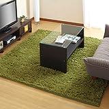 洗えるラグマット 床暖房対応 すべり止め付き シャギーラグ カーペット 絨毯 〔185×185cm〕 グリーン