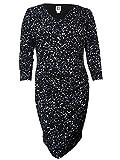 Anne Klein Women's Cowl Neck 3/4 Sleeves Ruched Jersey Dress