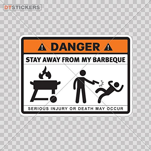 Decoration Vinyl Stickers Humor Danger Stay Away From My Barbeque Decoration vinyl wheat sauce healthy cuisine (8 X 5,74 Inches) Fully Waterproof Printed vinyl sticker