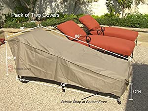 "2 pcs pack Patio Chaise covers with Velcro 84""Lx30""W from bondvast"