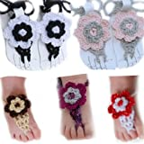 Ftbstyle 8pcs Newborn Infant Shoes Flowers Barefoot Sandals Babies Socks Blooms