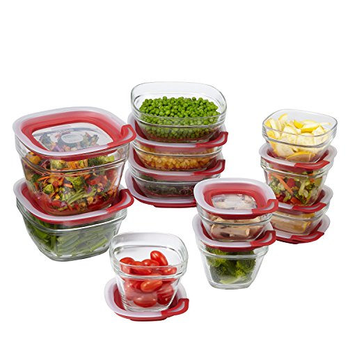 Rubbermaid Easy Find Lids Glass Food Storage Container, 22-piece Set, Red (1865887) (Storage Container Kitchen compare prices)