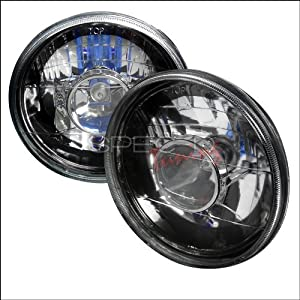 7 Inch Projector Headlights Round with H4 Bulb Black