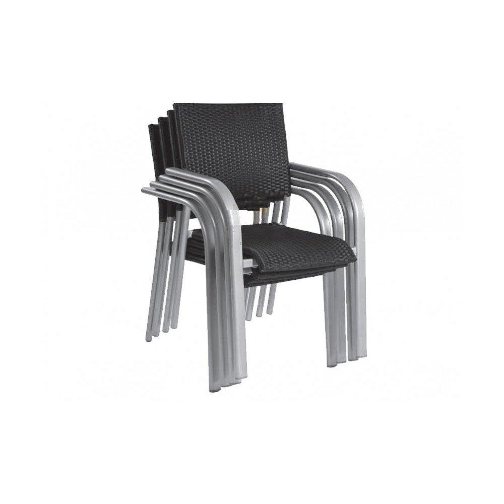 JUSThome Gartenmöbel Sitzgruppe Gartengarnitur Albergo Wicker Set 4x Stuhl + 1x Tisch in Rattan-Optik Schwarz günstig bestellen