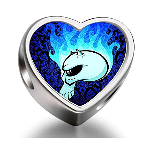 Rarelove Sterling Silver scary Halloween devil Heart Photo Charm Beads