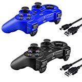 2 Pcs Kabi Wireless Bluetooth Controller for PS3,Double Shock Gamepad 6-Axis Remote Game Controller for Playstation 3 with Charging Cable(2017 New)(Black+Blue)