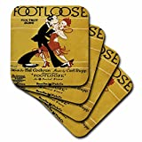 3dRose cst_171010_1 Footloose Fox Trot Song with 20S Style Couple Dancing Soft Coasters, Set of 4
