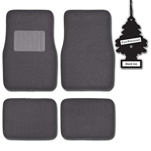 Motortrend Charcoal 4 Piece Premium Thick Carpet Ridged Car Floor Mats W/ Blackice front-369729