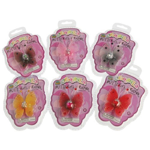 One Assorted Deluxe Organza Butterfly Play Pretend Assorted Metal Rings