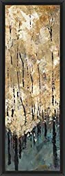 14in x 38in Nature\'s Abundance I by Luis Solis - Black Floater Framed Canvas w/ BRUSHSTROKES