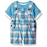Calvin Klein Baby Boys' Interlock Top with Woven Shortall, Blue/Plaid, 3-6 Months