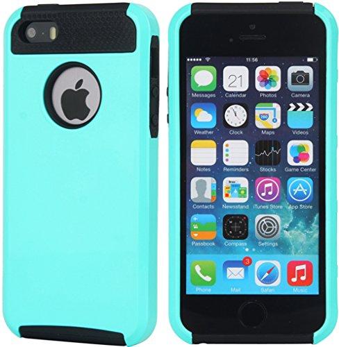 BAAS® Apple iPhone 5 / 5s / 5 SE - Elégant design Two-Tone double protection cas antichoc supérieure qualité couvercle coque - caoutchouc souple Boîtier intérieur et dur boîtier externe en plastique