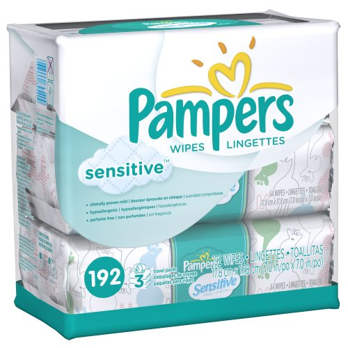 Pampers Sensitive Wipes -- 768 Total Count -- (192 Count, Pack of 4)