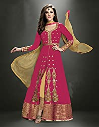 Shree Khodal Women's Pink Georgette Dress Material [SK_JCN1002D_D]