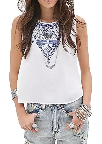 Women ethnic style sleeveless embroidery round collar t for Cropped white collared shirt