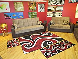 Arlington Collection Red and Black Contemporary Waves Abstract Design 3 Pcs. Area Rug Set (5X7), (2X5), (2X3)