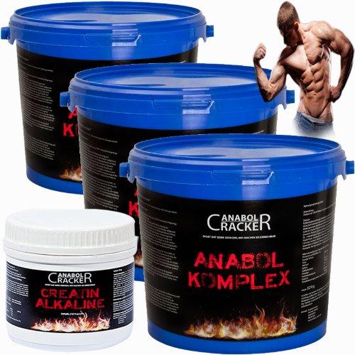 4 Monate ausgesorgt, 3x Anabol Komplex Whey Protein + 240 Kapseln Creatin Alkaline / Kre-Alkalyn