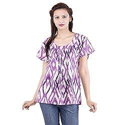 Jaipur Kala Kendra Women's Casual Wear Purple Cotton Top