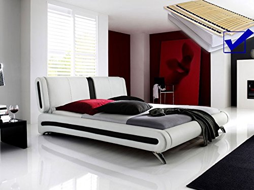Polsterbett weiss komplett Bett 160×200 + Lattenrost + Matratzen Singlebett Designerbett Malin günstig bestellen