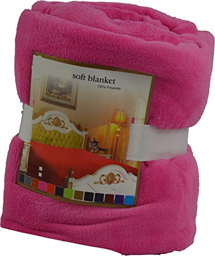 Fancy Collection Luxury Micro-Fleece Ultra Plush Solid Blanket (Queen, Hot Pink) front-940789