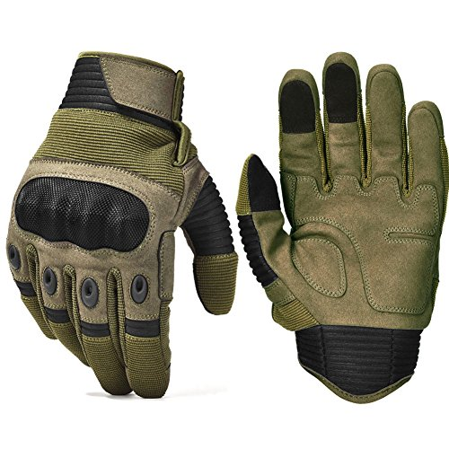 Army Military Hard Knuckle Tactical Combat Gloves Motorcycle Motorbike ATV Riding Full Finger Gloves for Men Airsoft Paintball Sport Biker Army Green Large