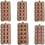 Set de 6 Plateaux en Silicome Flexible Chocolat Gelée Glaçons Cuisson Refroidissement - 90 Moules Par Curtzy TM