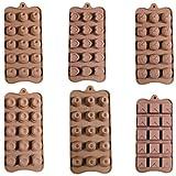 Set de 6 Plateaux en Silicome Flexible Chocolat Gelée Glaçons Cuisson Refroidissement - 90 Moules Par Curtzy TM...