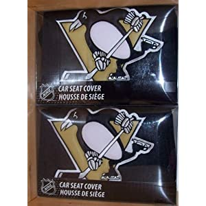 nhl pittsburgh penguins car seat covers 2 pack sports outdoors. Black Bedroom Furniture Sets. Home Design Ideas