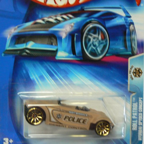 Mattel Hot Wheels 2004 1:64 Scale Tan Roll Patrol Hyundai Spyder Concept Police Die Cast Car #179 - 1