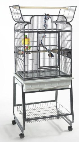 Liberta Drake Medium Parrot Cage and Stand - Gun Metal