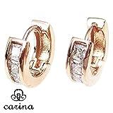 carina(カリーナ) フープピアス 高級感のあるジルコニア 大人可愛いデザイン 両耳ペアセット (ピンクゴールド)