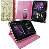 Emartbuy Samsung Galaxy Tab E Tablet 10 Inch Universal Range Floral Pink / Green Multi Angle Executive Folio Wallet Case Cover With Card Slots + Hot Pink Stylus