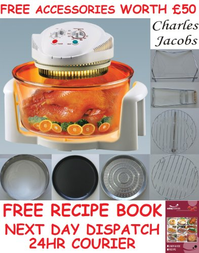 12 LTR Halogen Oven Cooker + FREE COOK BOOK, accessories includes extender ring, lid holder, low rack, high rack, forks, frying pan, tong, steamer - worth £60 + 2 YEAR WARRANTY