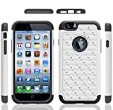 Iphone 6 Case, Meaci® Cellphone Case for Iphone 6 (4.7 Inch) 2 in 1 Case Combo Hybrid Case Glitter/bling Diamond Dual Layer Pc and Silicon Rubber Protective Case (white and black)