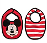 Disney Mickey Mouse Bib Set for Baby,3-d Ears,100% Organic Cotton,red,red/white Stripe,velcro Closure