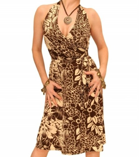 Blue Banana - Beige und Braun Neck-Holder Wickelkleid - Gr: 40