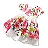 DWD Toddler Baby Kids Girl Floral Princess Dress Ruffles Sundress Outfits Clothes (3T, Red)