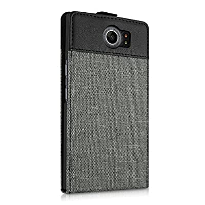 kwmobile Flip Style case for Blackberry Priv - foldable protective case made of canvas fabric with imitation leather in flip case style in grey black by KW-Commerce