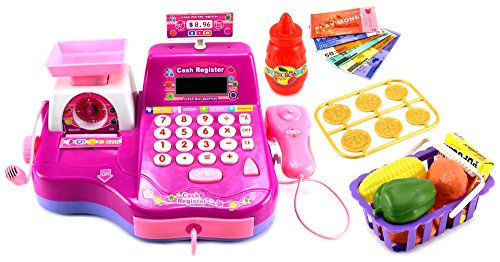 Fun Super Cash Register Pretend Play Battery Operated Toy Cash Register w/ Working Scanning Action, Real Calculator, Working Microphone, Toy Food, Shopping Basket (Kids Scanning Cash Register compare prices)
