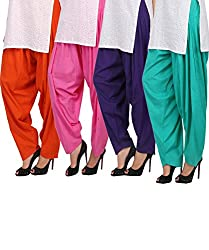 Womens Cottage Combo Pack of 4 Pure Cotton Semi Patiala Bottoms