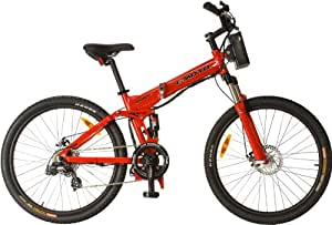 e-Moto 3.0 Ridge Folding Electric Mountain Bicycle (Red, 26-16-Inch)